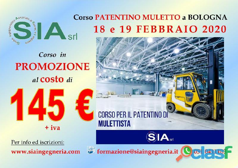 Corso patentino mulettista a bologna il 18 e 19 febbraio 2020
