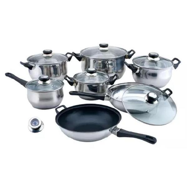 Vidaxl batteria da cucina in acciaio inox, 14 pezzi con wok