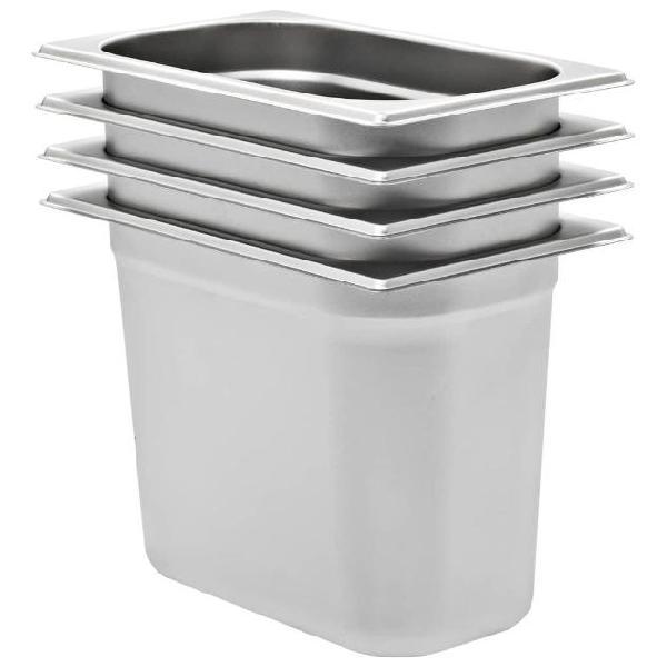 Vidaxl contenitori per alimenti 4 pz gn 1/4 200 mm in