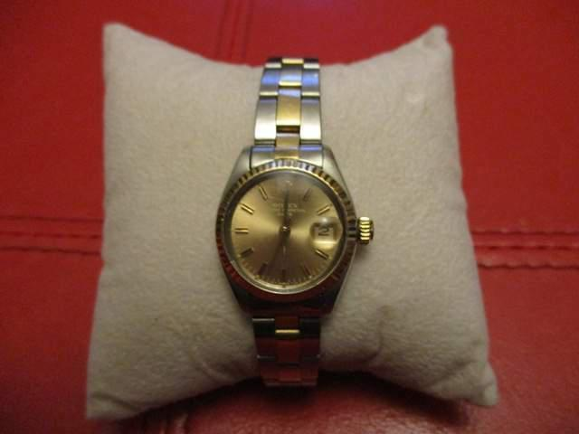 Rolex lady date oyster perpetual acciaio e oro usato