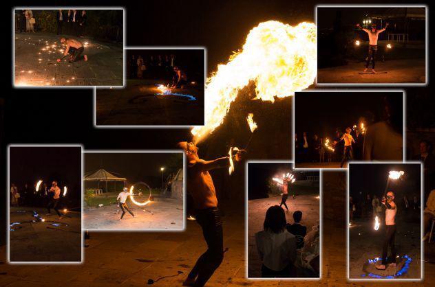 Trampolieri giocolieri spettacolo fuoco artisti da strada