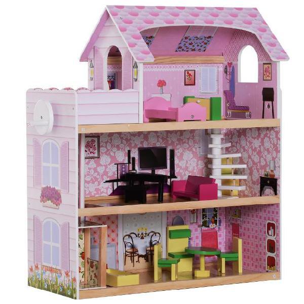 Casa delle bambole per bambini a 3 piani con ascensore rosa