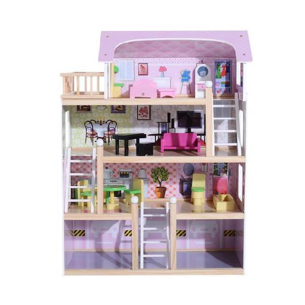 Casa delle bambole per bambini a 4 piani in legno con