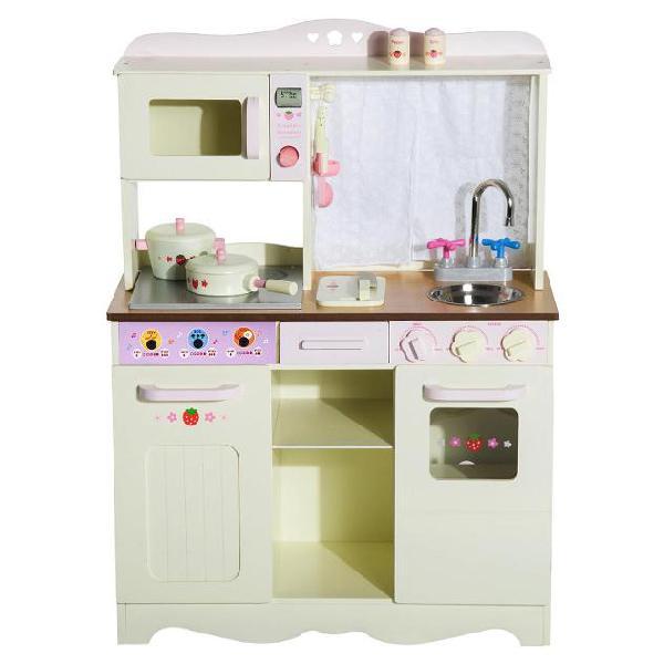 Cucina giocattolo in legno con utensili bianco 71x30x97.5 cm