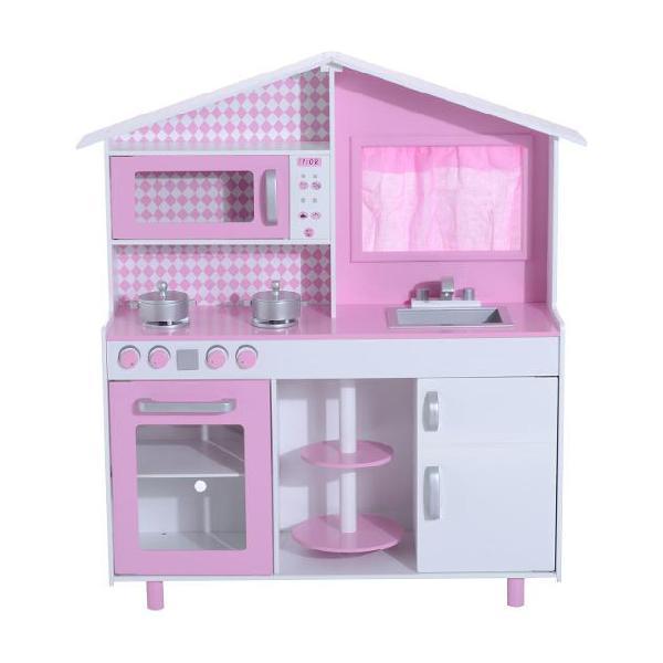Cucina giocattolo per bambini con accessori in legno rosa