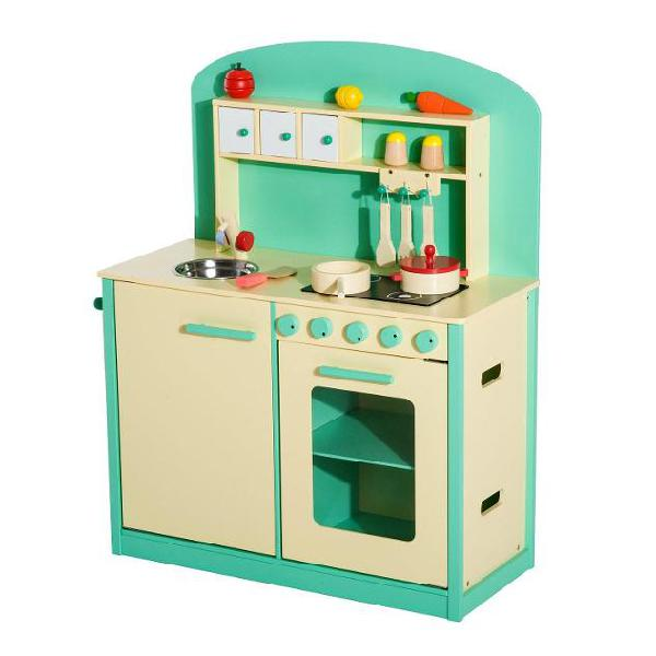 Cucina giocattolo per bambini con accessori in legno verde