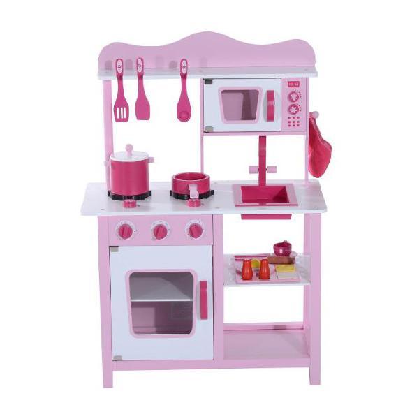 Cucina giocattolo per bambini in legno rosa 60x30x84.5 cm