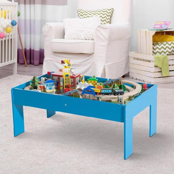 Set tavolo per bambini con ferrovia per trenino in legno con