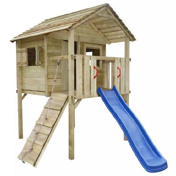 Vidaxl set da gioco casetta legno con scaletta e scivolo 360