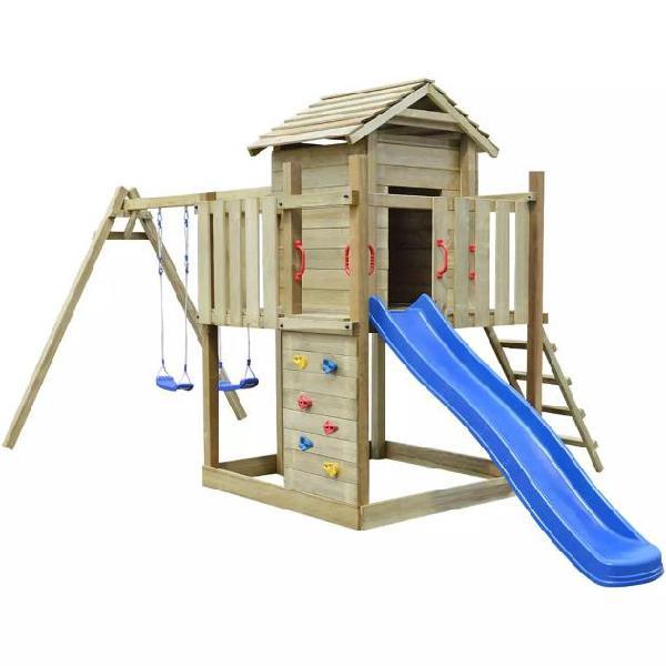 Vidaxl set da gioco in legno con scaletta, scivolo e