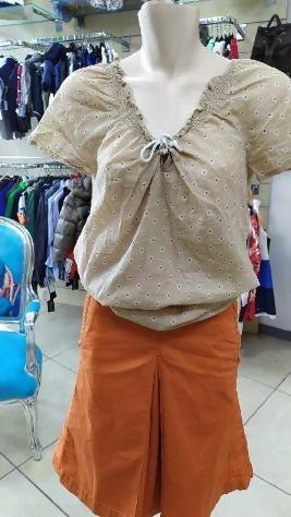 T shirt donna hilfigher beige scollo laccio