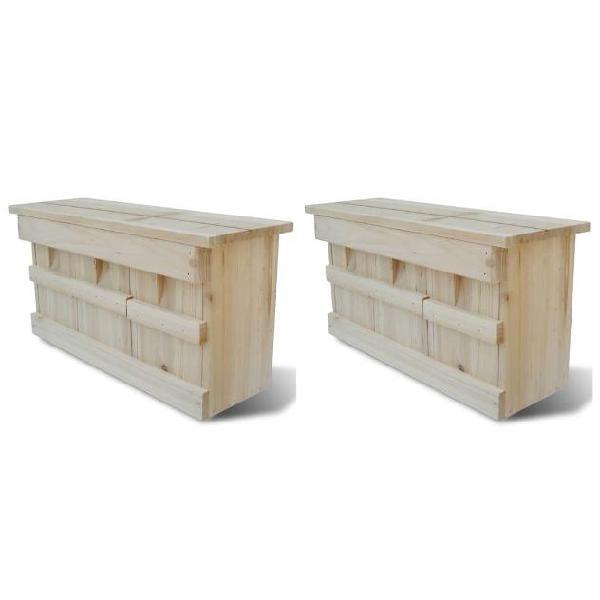 Vidaxl casette per gli uccelli 2 pz in legno 44x15,5x21,5 cm