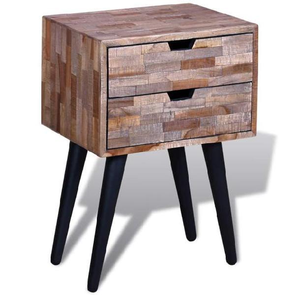 Vidaxl comodino con 2 cassetti in legno di recupero di teak