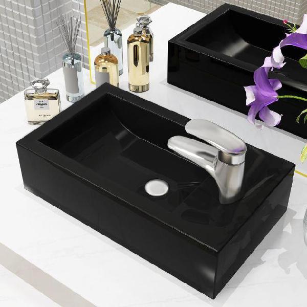 Vidaxl lavandino con foro rubinetto rettangolare ceramica