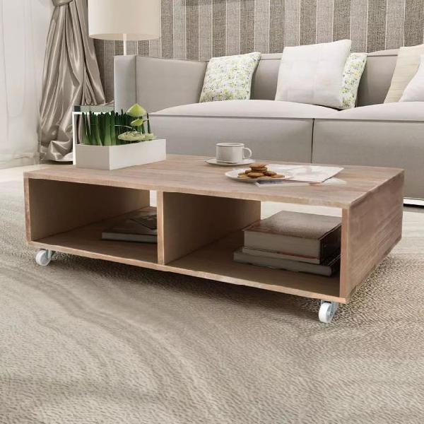 Vidaxl tavolino da caffè marrone in legno massello