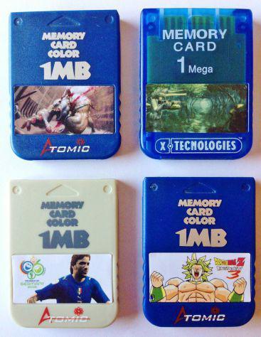 Set lotto 4 memory card 1 mb mega per sony playstation ps1