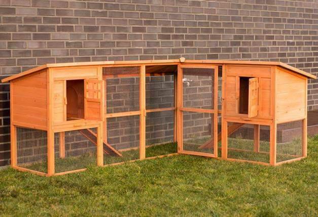 Conigliera in legno esterno giardino recinto per conigli