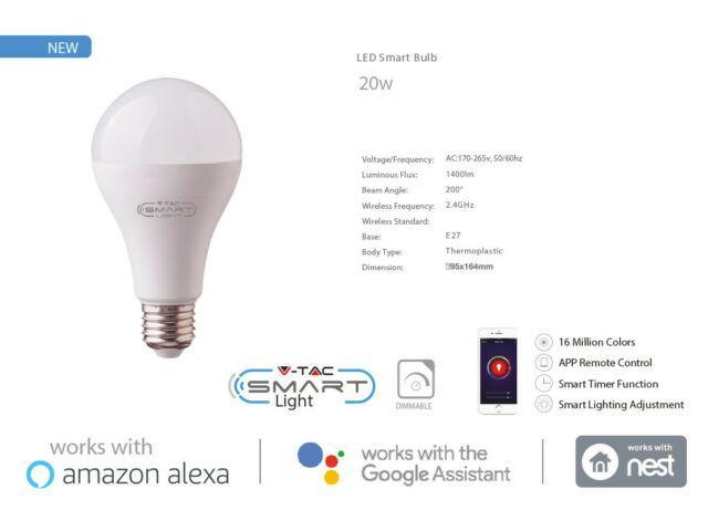 Smart wifi bulb lampada led e27 a95 20w rgb