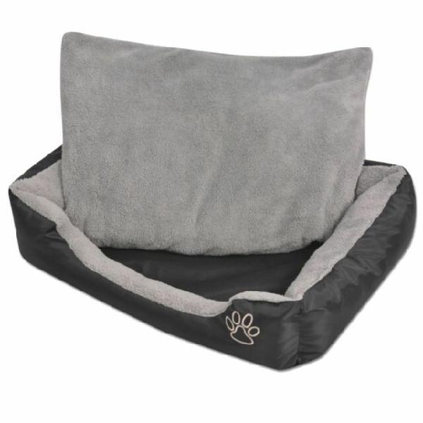 Vidaxl cuccia per cani con cuscino imbottito taglia xl nero