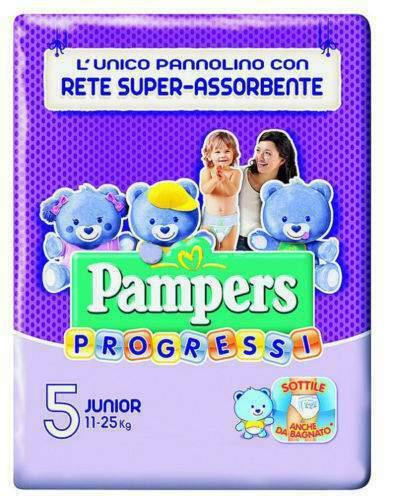 Pannolini pampers progressi taglia 5 junior(11-25 kg)