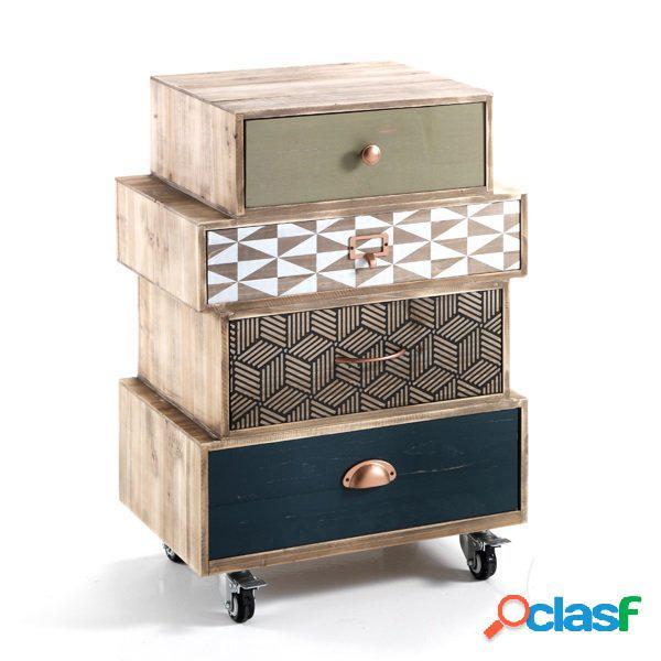 Cassettiera vintage 4 cassetti colorati in legno con ruote