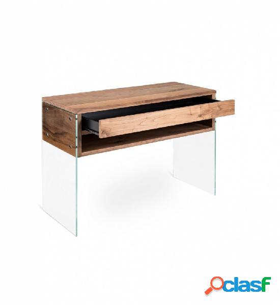 Consolle toeletta con cassetto in legno e vetro 2 colori