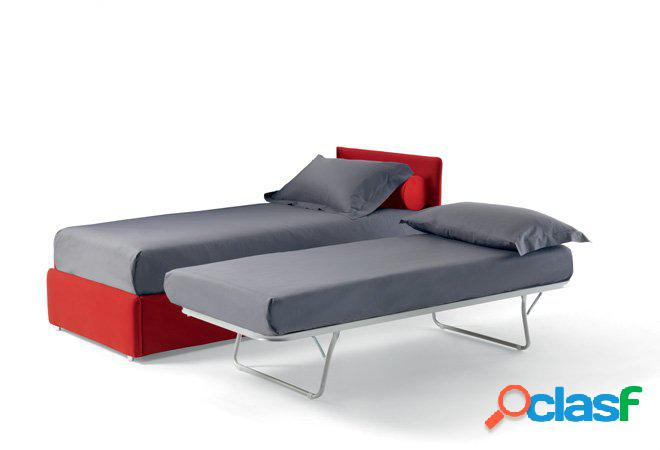 Divano doppio letto singolo con reti a doghe e materassi