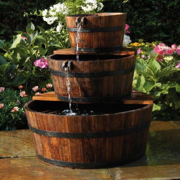 Ubbink fontana a cascata da giardino con barile in legno set
