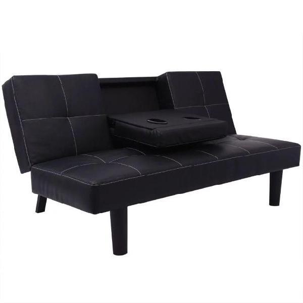 Vidaxl divano letto con tavolo a scomparsa in pelle