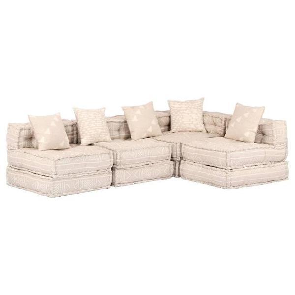 Vidaxl divano letto modulare a 4 posti beige in tessuto