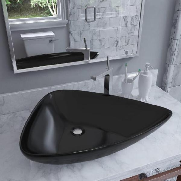 Vidaxl lavandino triangolare in ceramica nero 645x455x115 mm