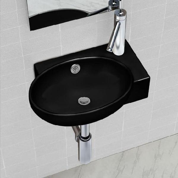 Vidaxl lavandino bagno rotondo in ceramica nera con foro di
