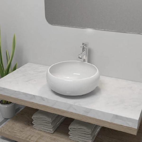 Vidaxl lavello bagno con miscelatore in ceramica rotondo