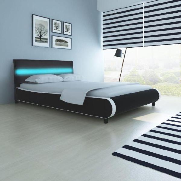 Vidaxl letto ecopelle testiera led 140 cm+materasso