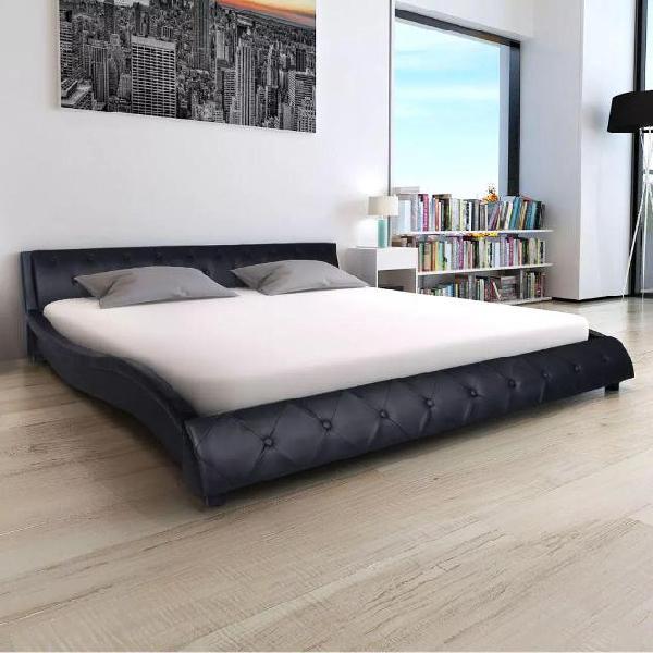Vidaxl letto con materasso pelle sintetica nera 140x200 cm