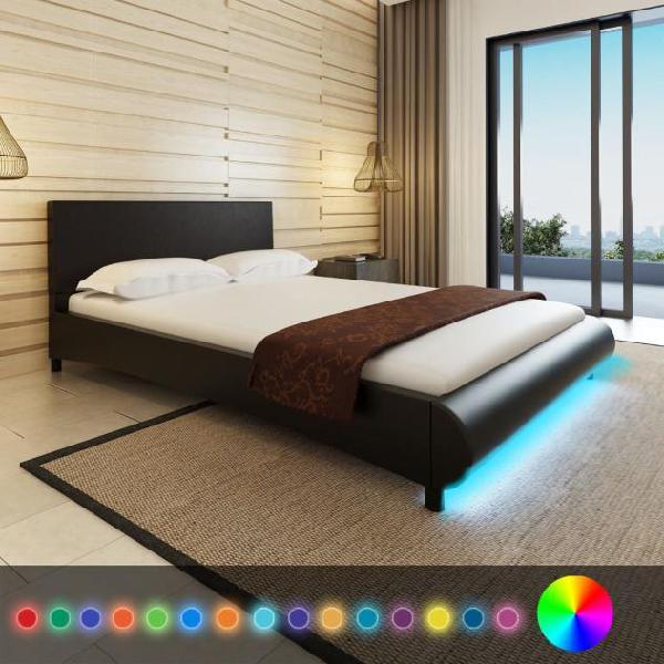 Vidaxl letto ecopelle 140 cm nero a led materasso e