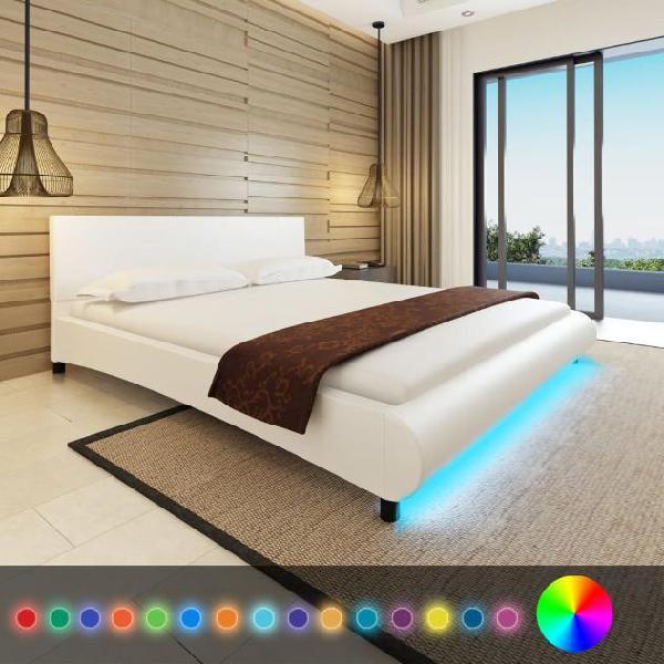 Vidaxl letto ecopelle 180 cm bianco a led materasso memoria