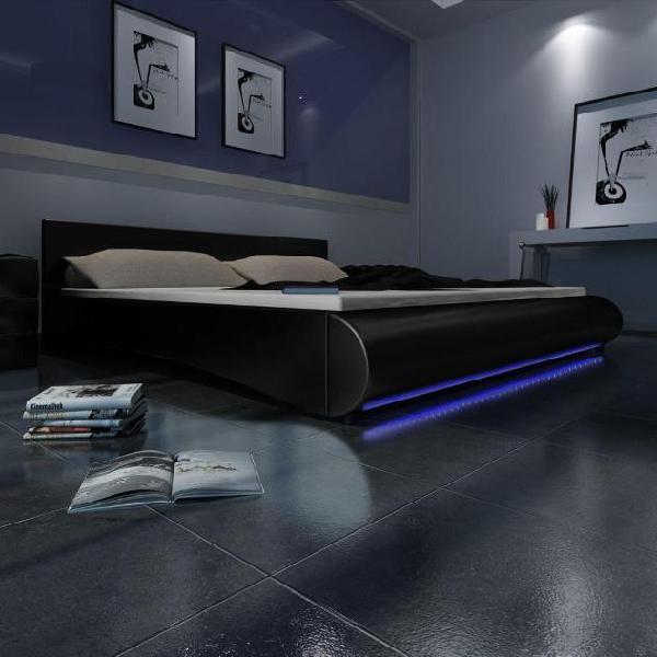 Vidaxl letto in ecopelle nera con materasso 140 x 200 cm e