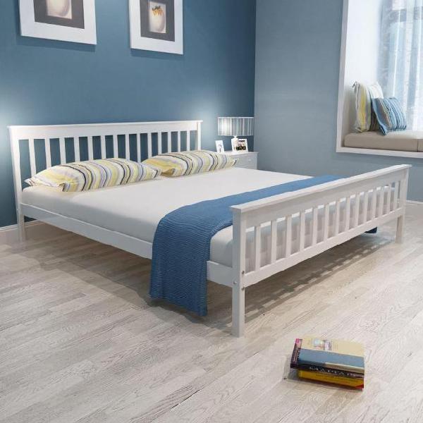 Vidaxl letto in legno bianco 180 cm+materasso