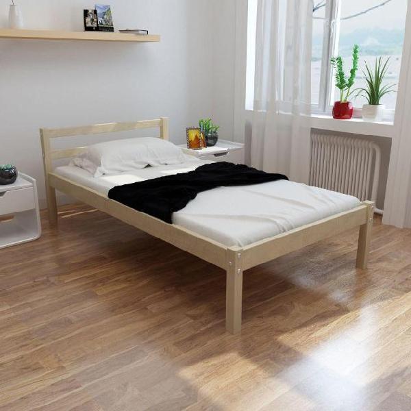 Vidaxl letto in legno di pino 90 cm + materasso +