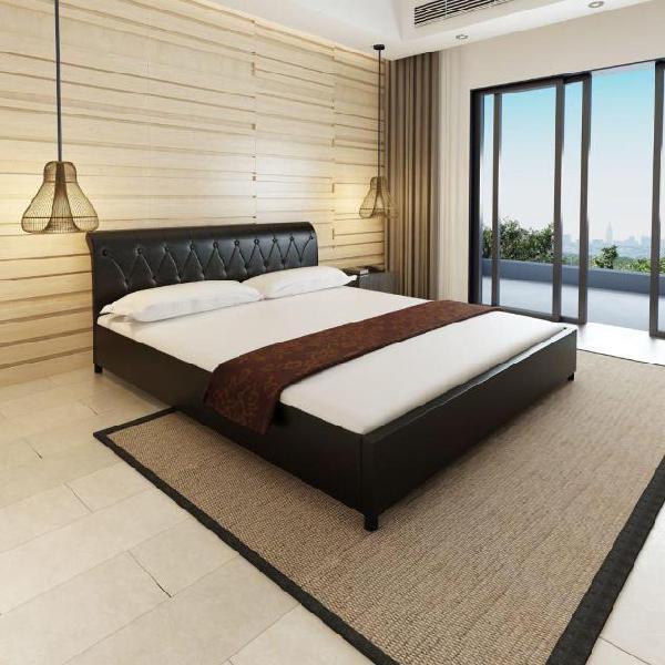 Vidaxl letto pelle 180 cm nero trapuntato materasso e