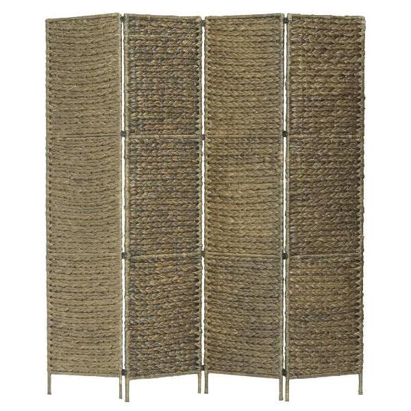 Vidaxl paravento a 4 pannelli marrone 154x160 cm in giacinto