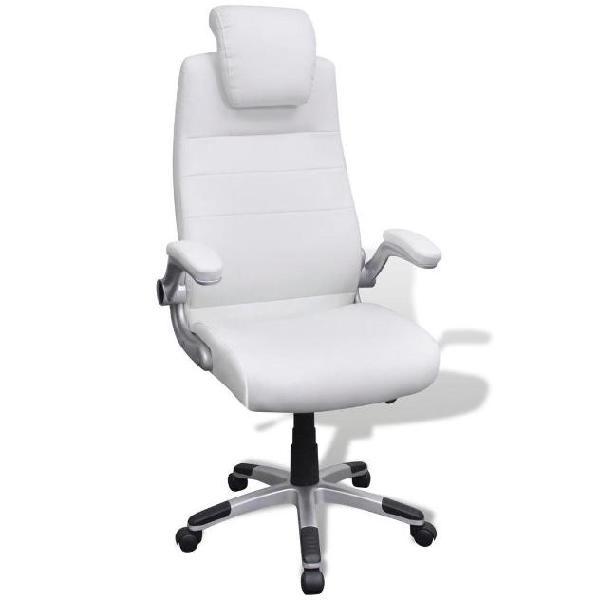 Vidaxl sedia pelle artificiale bianco girevole regolabile