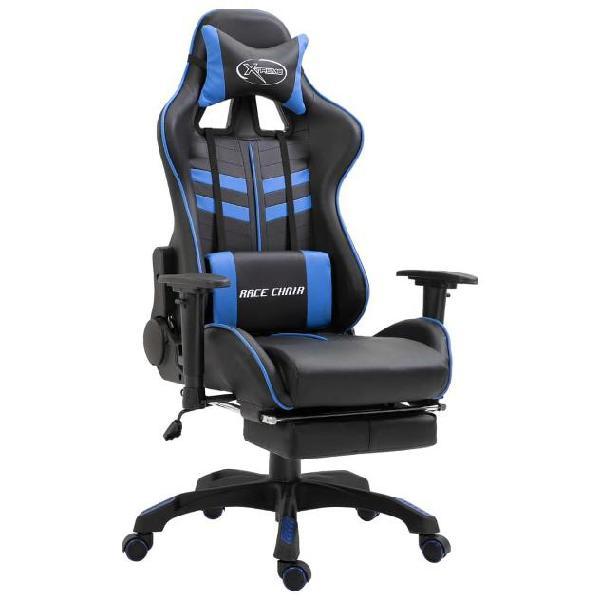 Vidaxl sedia da gaming con poggiapiedi blu pu