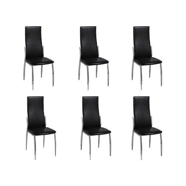 Vidaxl sedie cromate per sala da pranzo 6 pz in pelle