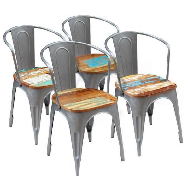 Vidaxl sedie sala da pranzo 4 pz legno massello riciclato