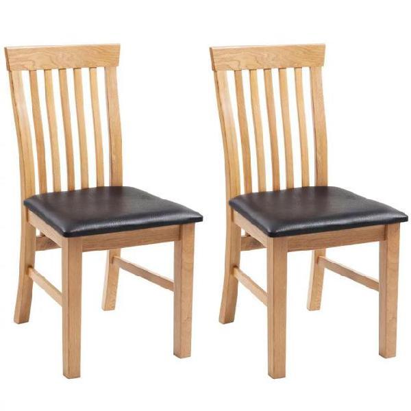 Vidaxl sedie da pranzo 2 pz in similpelle e massello di