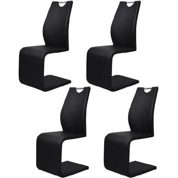 Vidaxl sedie da pranzo cantilever 4 pz in pelle artificiale