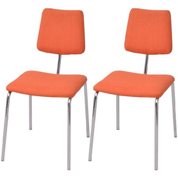 Vidaxl set 2 sedie da tavolo in tessuto arancione
