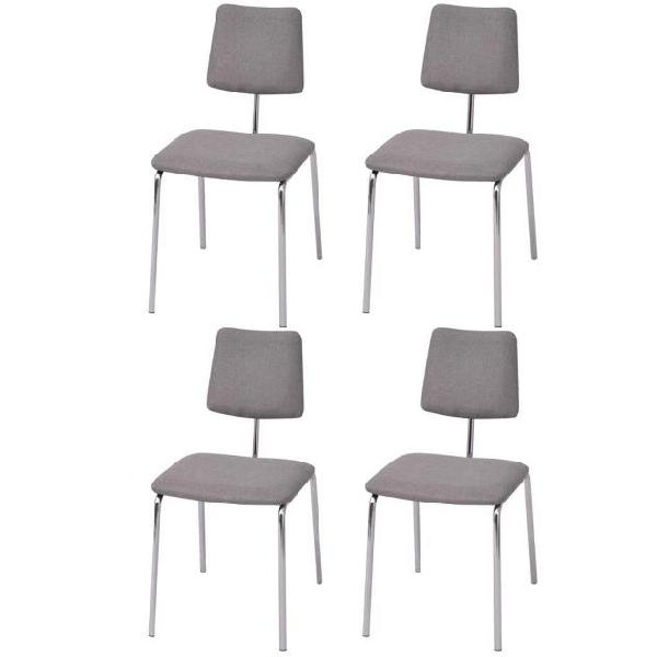 Vidaxl set 4 sedie da tavolo in tessuto grigio